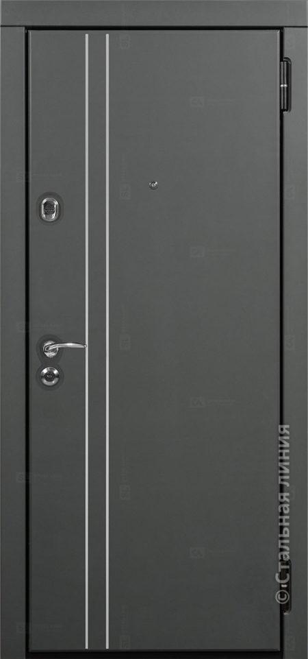 входная дверь лестер лайт стальная линия steellak серый графит ral 7043 вставка алюминиевый молдинг рисунок техно-24