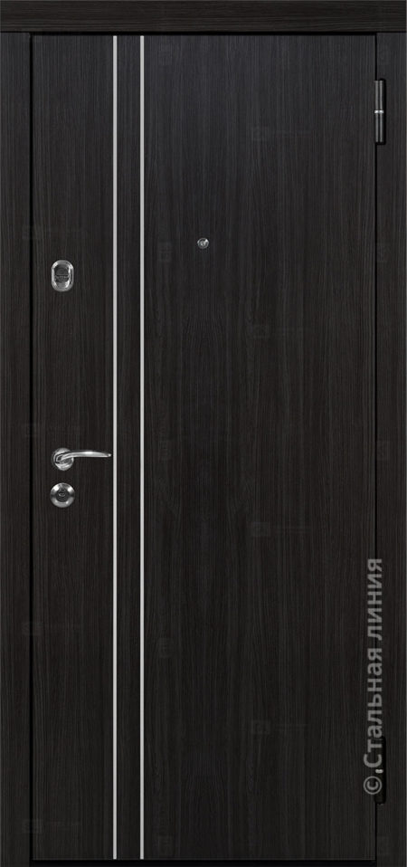 Лестер Лайт входная дверь стальная линия экошпон премиум венге чёрно-серый распил вставка алюминиевый молдинг рисунок техно-24