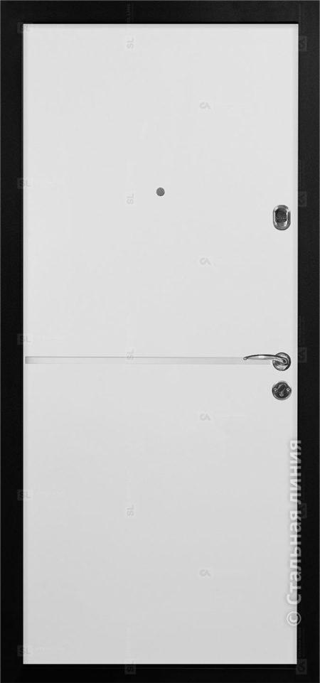 Лестер Лайт входная дверь стальная линия steellak белый ral 9003 вставка алюминиевый молдинг рисунок техно-4
