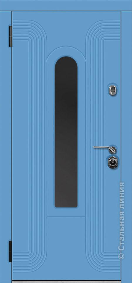 лобренто мидл входная дверь стальная линия терморазрыв стеклопакет окраска steellak небесно-голубой рисунок Н-93