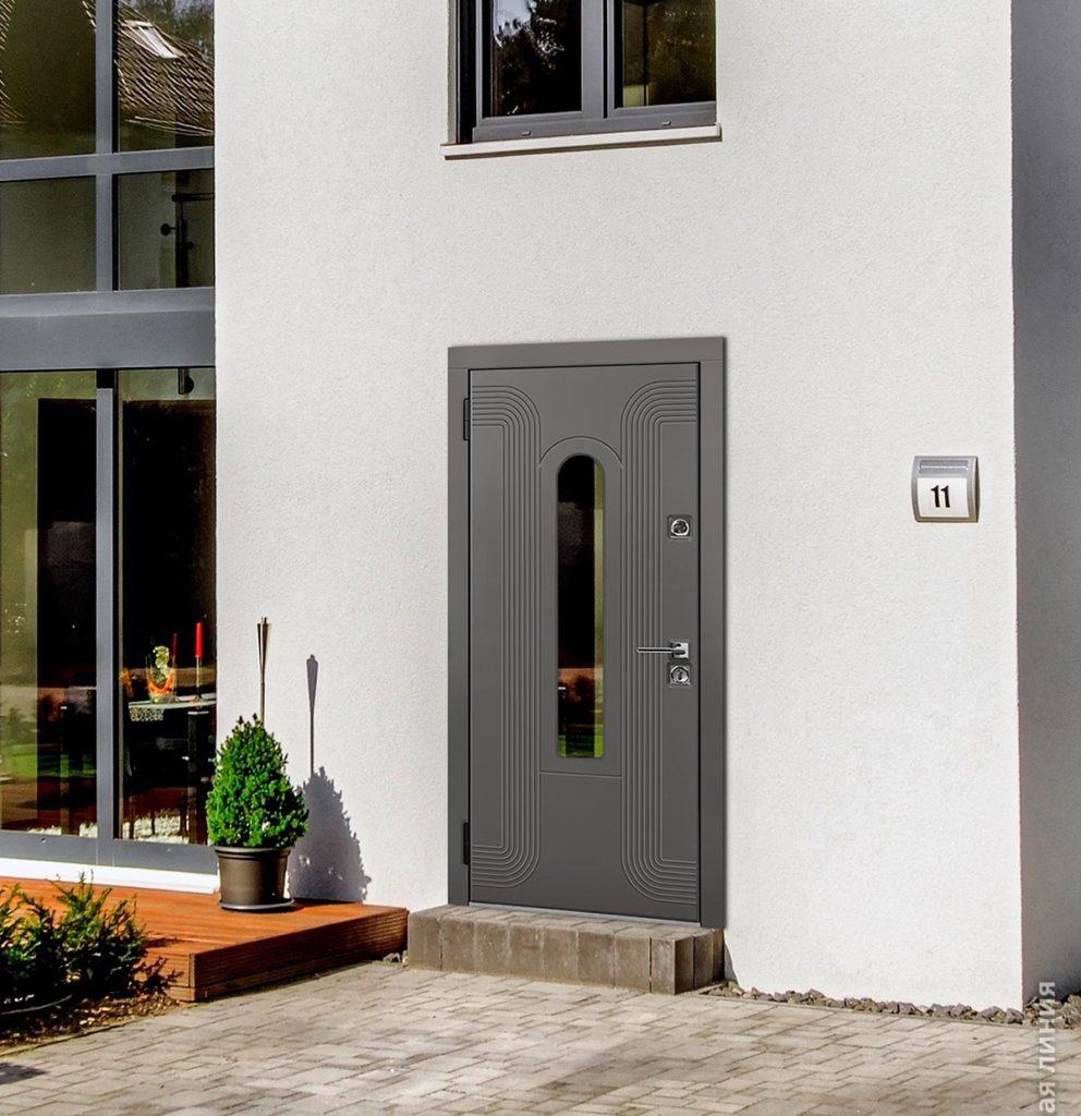 Лобренто входная дверь в дом с терморазрывом и стеклопакетом стальная линия рисунок Н-93