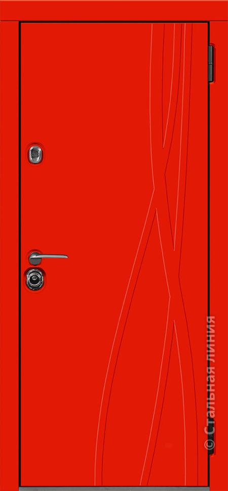 входная красная дверь стальная линия мемфис эмаль рисунок Д-15