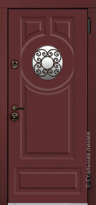 норея красная входная дверь в коттедж с терморазрывом круглый стеклопакет с ковкой внутри терморазрыв стальная линия отделка steellak марсала рисунок П-61