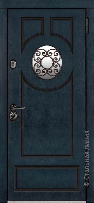 норея мидл синяя входная дверь в коттедж с терморазрывом круглый стеклопакет с ковкой внутри терморазрыв стальная линия отделка бьорк индиго рисунок П-61