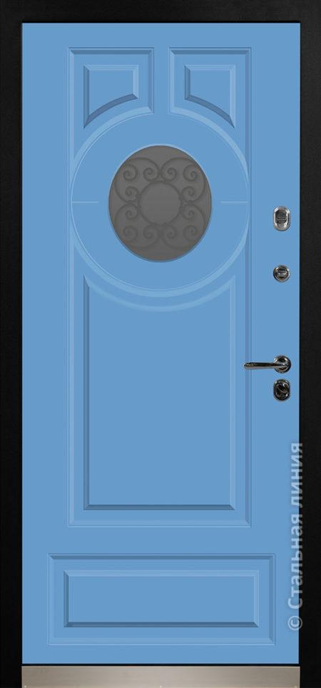 норея мидл синяя голубая входная дверь в коттедж с терморазрывом круглый стеклопакет с ковкой внутри терморазрыв стальная линия отделка steellak небесно-голубой рисунок П-61