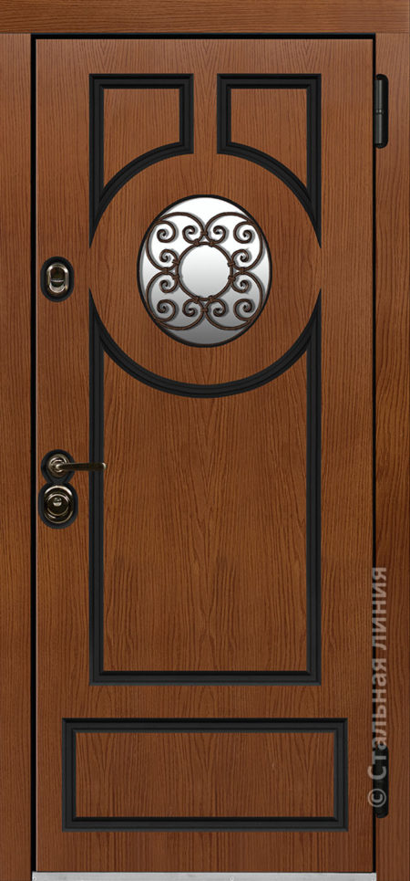 норея входная дверь в коттедж с терморазрывом круглый стеклопакет с ковкой внутри терморазрыв стальная линия отделка concord калабрия рисунок П-61