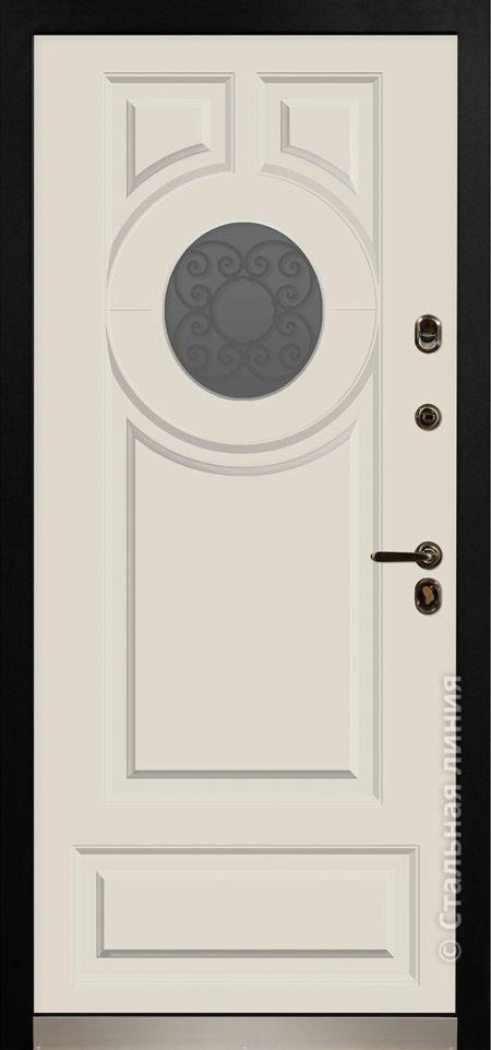 норея входная дверь в коттедж с терморазрывом круглый стеклопакет с ковкой внутри терморазрыв стальная линия отделка steellak слоновая кость рисунок П-61