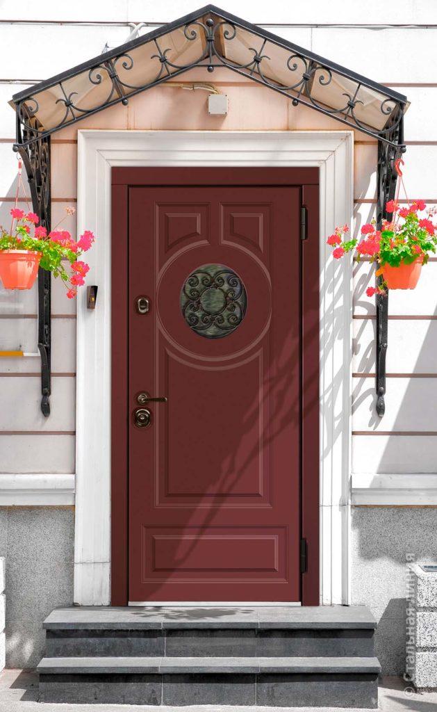 входная дверь норея стальная линия двери в дом с терморазрывом и стеклопакетом художественная ковка красная дверь П-61