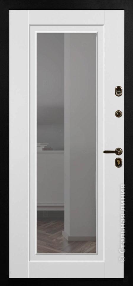 олимпия входная дверь стальная линия steeltex белый с патиной рисунок П-48 с зеркалом