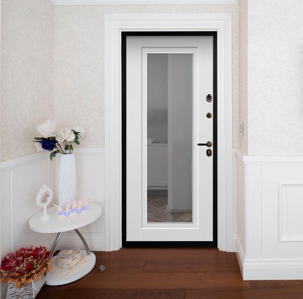 олимпия входная дверь с зеркалом в квартире белая дверь стальная линия белорусские двери П-48 с зеркалом