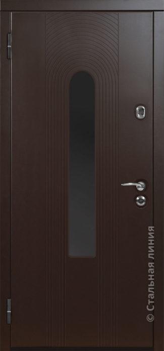 орион мидл входная дверь с терморазрывом и стеклопакетом стальная линия отделка steellak коричневый металлик стеклопакет Е рисунок Н-94