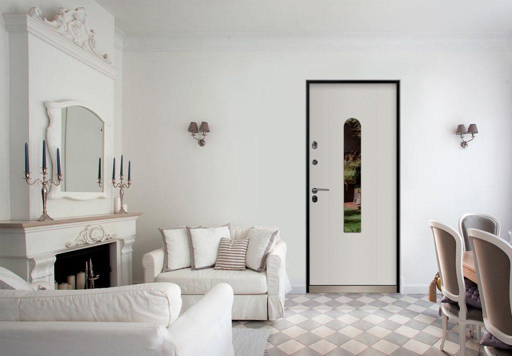 Орион входная дверь в дом с терморазрывом и стеклопакетом стальная линия рисунок Н-94