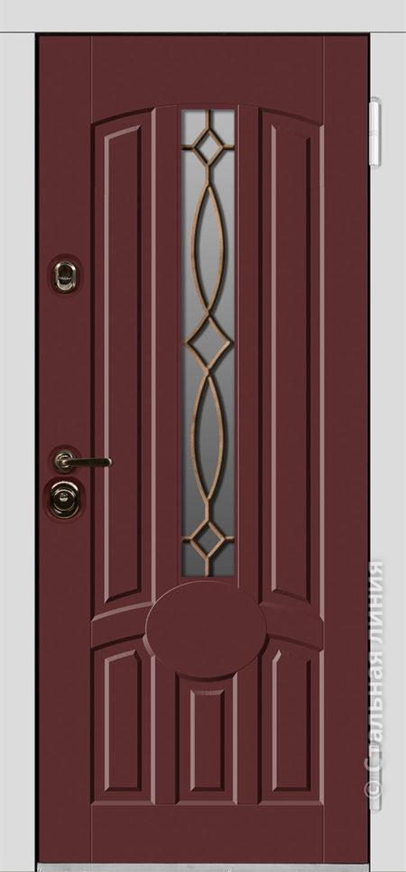 Сеул красная входная дверь с терморазрывом стеклопакетом ковкой стальная линия отделка steellak марсала рисунок П-57