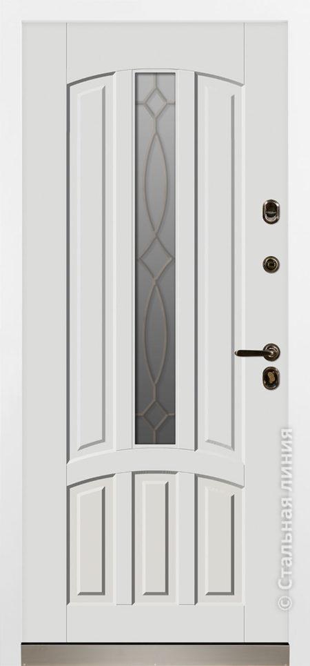 Сеул красная входная дверь с терморазрывом стеклопакетом ковкой стальная линия отделка steellak белый рисунок П-55