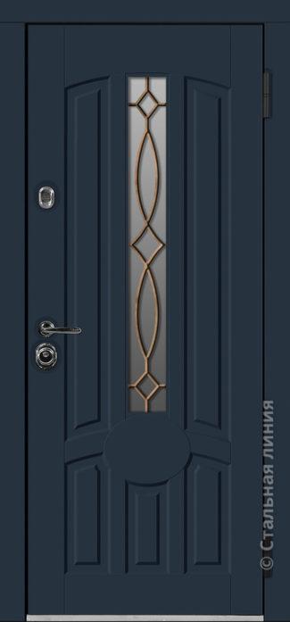 Сеул мидл красная входная дверь с терморазрывом стеклопакетом ковкой стальная линия отделка steellak антрацит рисунок П-57