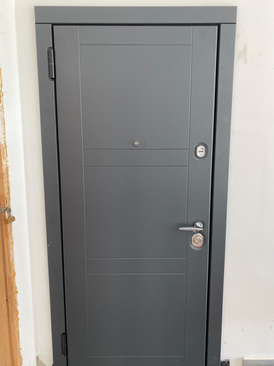 входная дверь серая steeltex шагрень антрацит рисунок Н-74