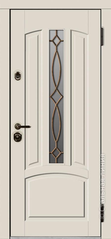 стамбул входная уличная дверь для коттеджа с терморазрывом стеклопакетом ковка стальная линия steellak слоновая кость рисунок П-54