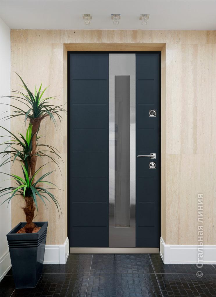 Брисбен входная дверь для дома с окном стальная линия