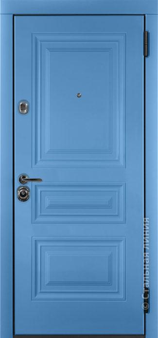 аллегро голубая входная дверь стальная линия отделка Steellak небесно-голубой фрезеровка KF-01
