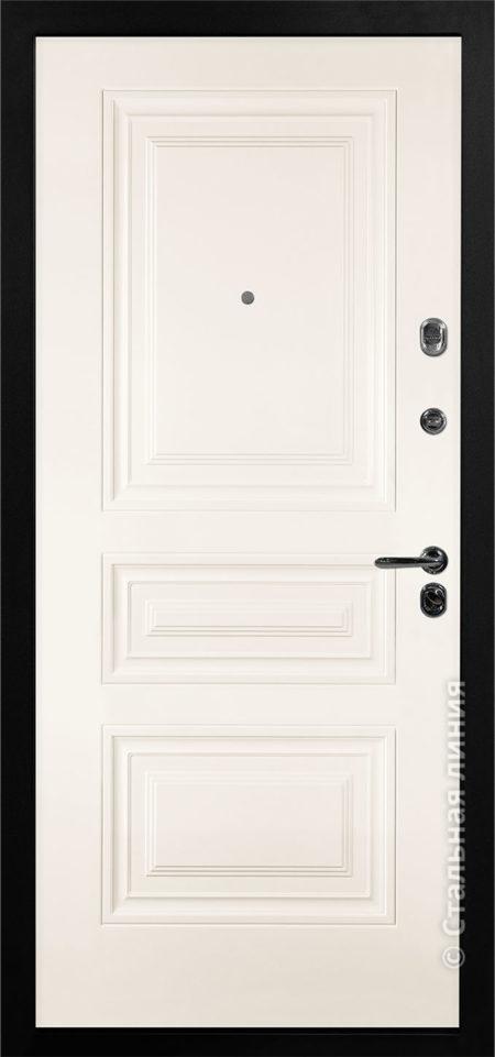 аллегро белая входная дверь стальная линия отделка Steellak снежный фрезеровка KF-01