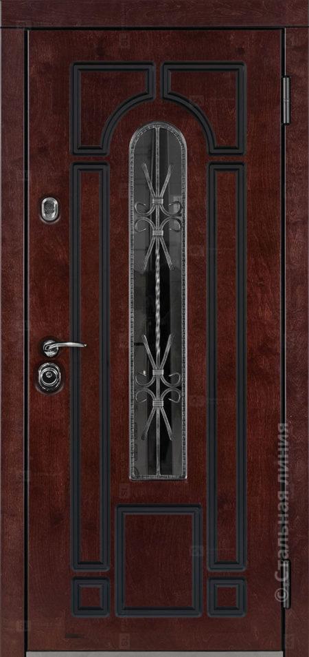 Арабелла Е1 входная уличная дверь с окном художественная ковка внутри стеклопакета рисунок Н-90