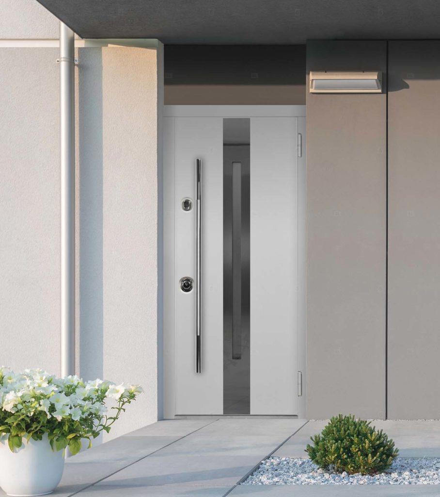 Армада входная дверь стальная линия узкое окно с рамкой из нержавеющей стали окно С1