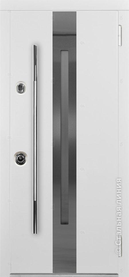 Армада входная дверь с узким современным стеклом и рамкой из нержавеющей стали отделка steellak белый рисунок О-С1