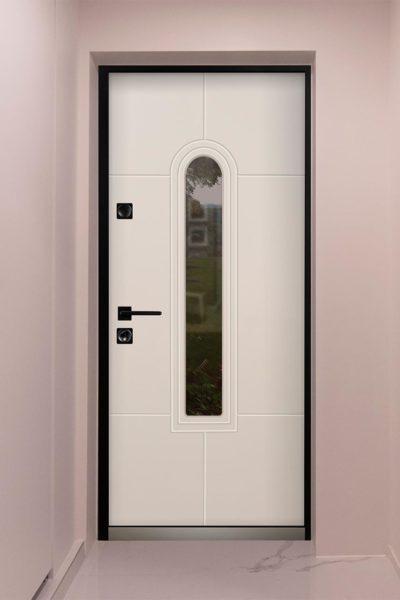 Окно Е в современном стиле для входных уличных дверей стальная линия