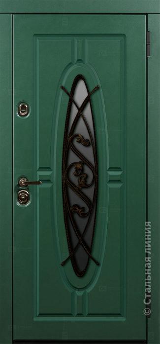 монарх мидл входная уличная дверь с окном и ковкой стальная линия отделка steellak зелёный турмалин Н-54 О-Д