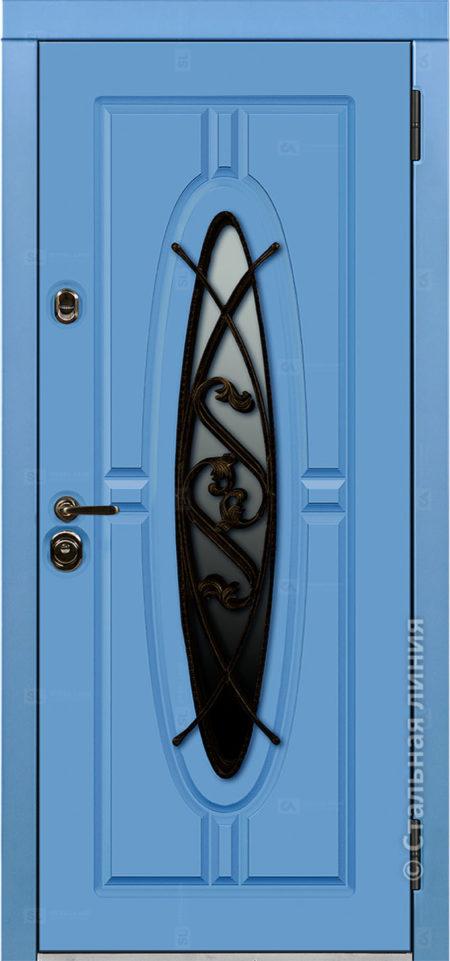 монарх мидл входная уличная дверь с окном и ковкой стальная линия отделка steellak небесно-голубой Н-54 О-Д