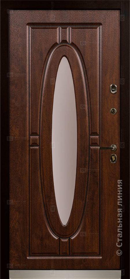 монарх входная уличная дверь с окном и ковкой стальная линия отделка steeltex дуб тёмный с патиной Н-54 О-Д