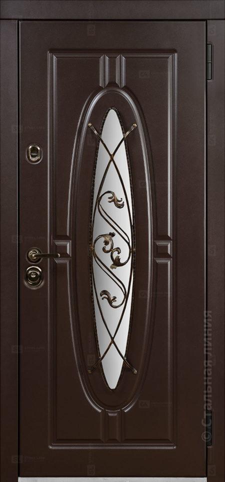 монарх мидл входная уличная дверь с окном и ковкой стальная линия отделка steellak коричневый Н-54 О-Д