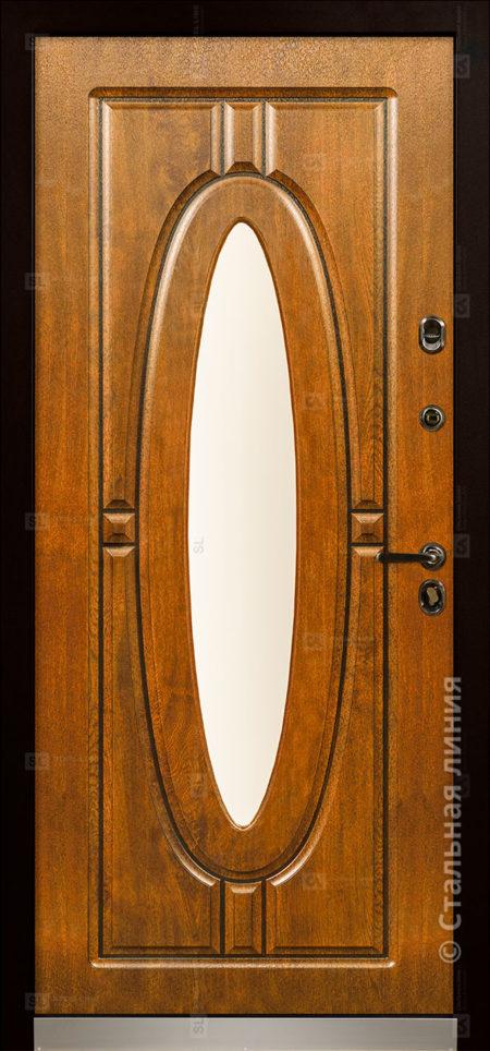 монарх входная уличная дверь с окном и ковкой стальная линия отделка steeltex дуб золотистый с патиной Н-54 О-Д