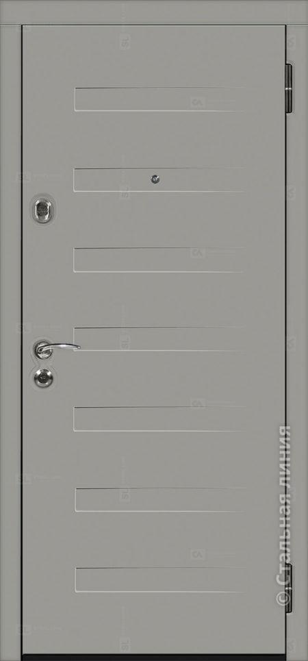 пиано лайт серая входная уличная дверь с терморазрывом стальная линия отделка steellak платиновый серый рисунок пиано