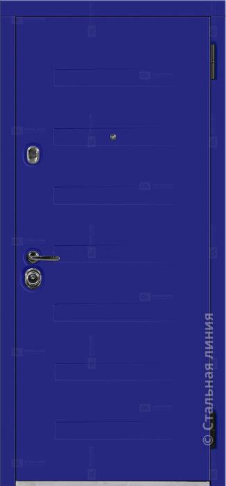 пиано синяя входная уличная дверь с терморазрывом стальная линия отделка steellak ультрамарин рисунок пиано