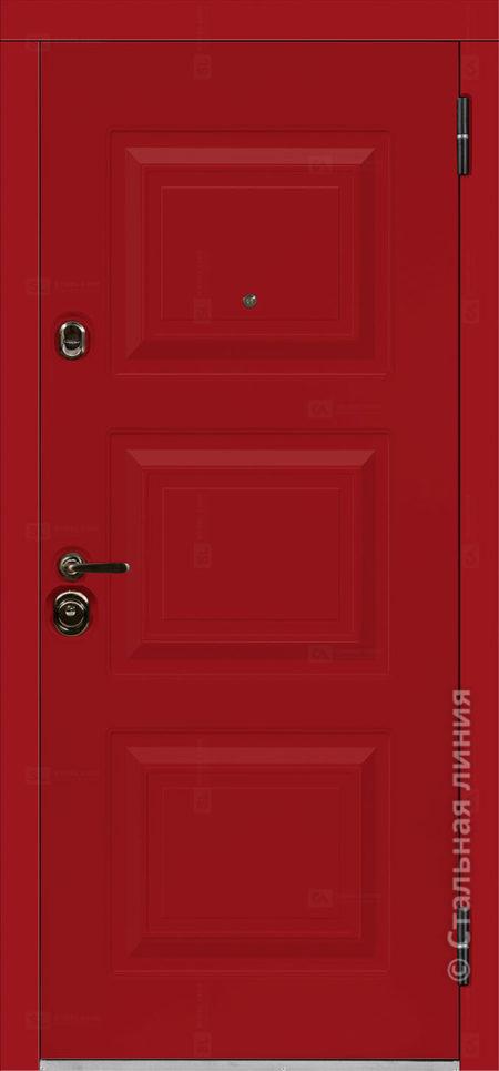 Римини мидл красная входная дверь в коттедж с терморазрывом стальная линия отделка steellak рисунок П-33
