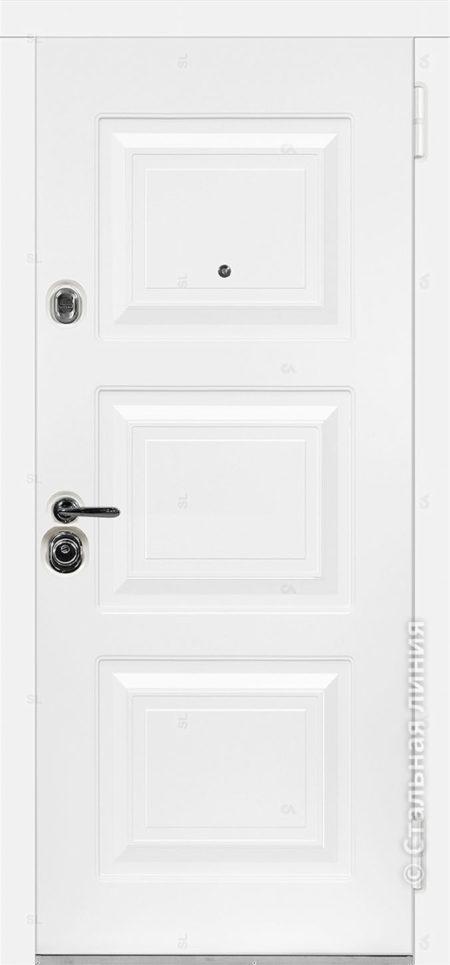 Римини лайт белая входная дверь в коттедж с терморазрывом стальная линия отделка steellak белый рисунок П-33