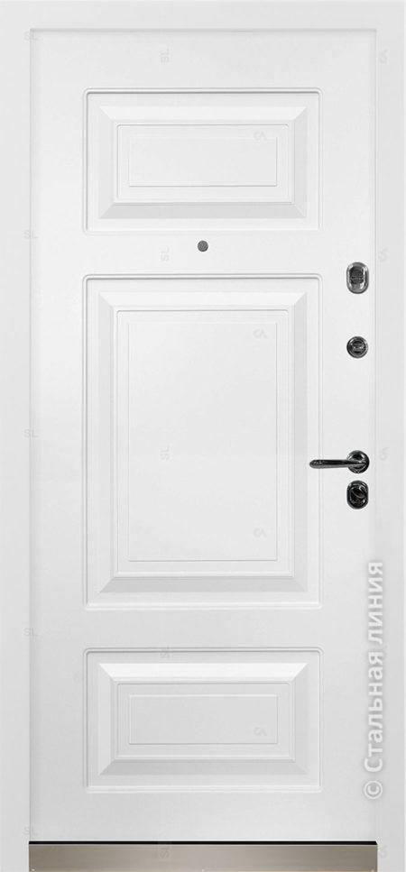 Римини лайт белая входная дверь в коттедж с терморазрывом стальная линия отделка steellak белый рисунок П-35