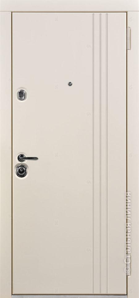 Сандро белая входная дверь стальная линия отделка steellak белый рисунок Н-16