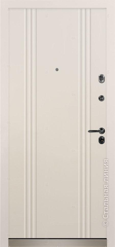 Сандро белая входная дверь стальная линия отделка steellak белый рисунок Н-63
