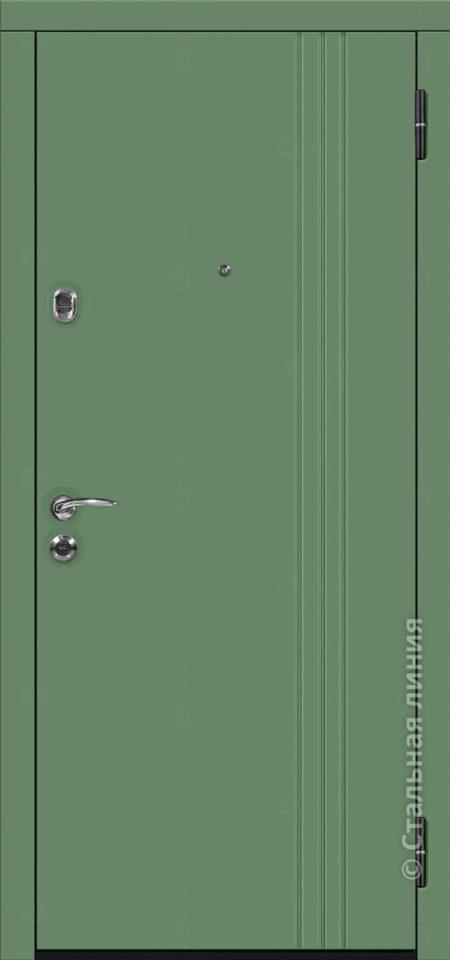 Сандро лайт входная уличная дверь стальная линия зелёная входная дверь отделка steellak оливковый рисунок Н-16
