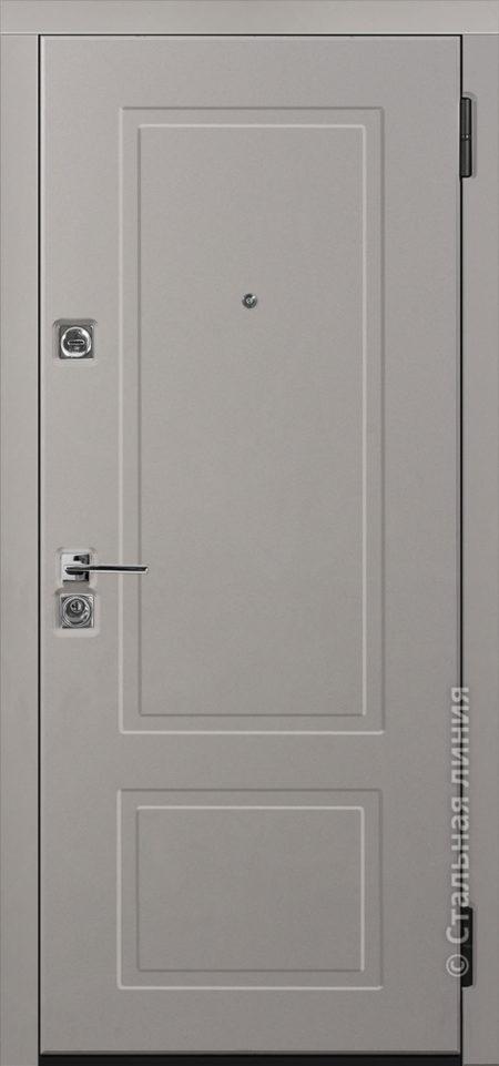 сантана серая входная дверь стальная линия белоруссия неоклассика отделка SteelLak платиновый серый рисунок NL-05