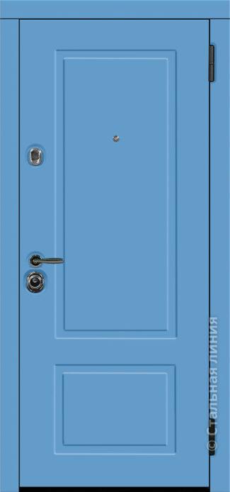 сантана лайт голубая синяя входная дверь стальная линия белоруссия неоклассика отделка SteelLak небесно-голубой рисунок NL-05