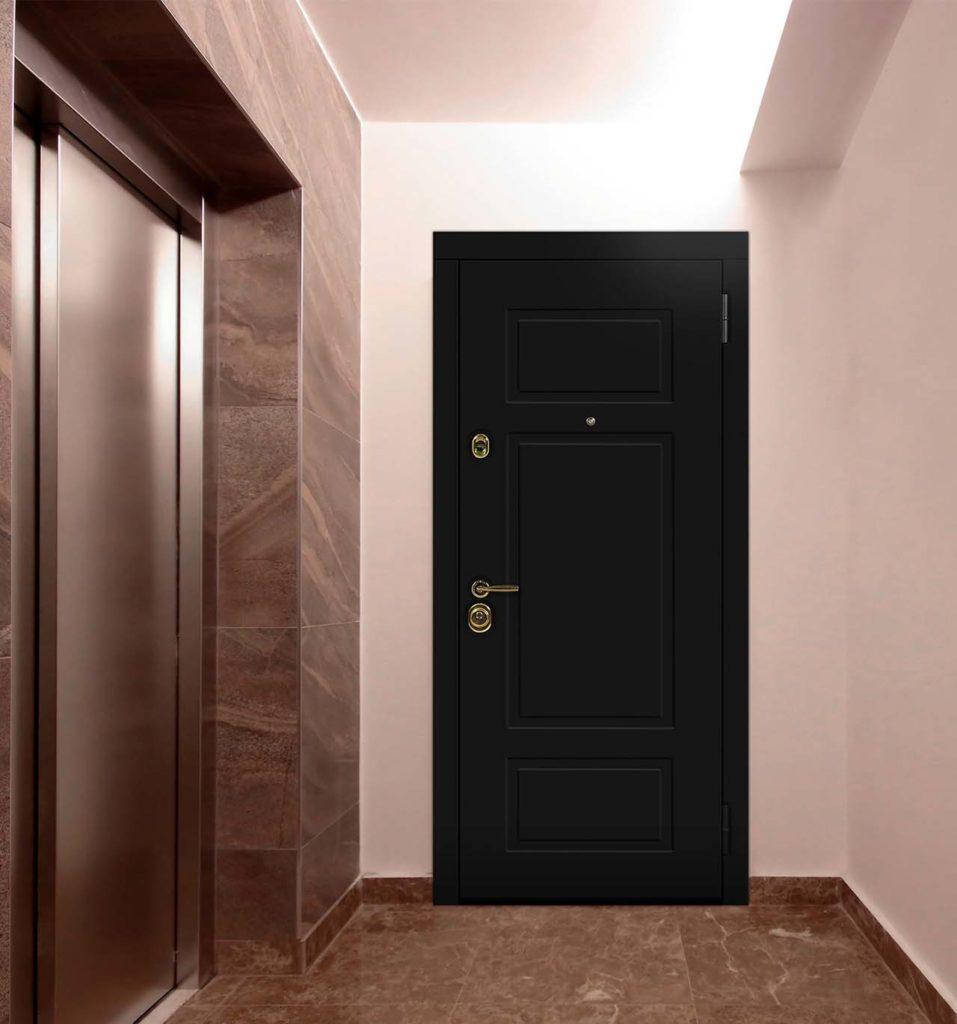 неоклассика чёрная входная дверь стальная линия NL-07